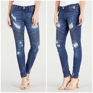 Destroyed Moto Skinny Jeans Ripped Stretch
